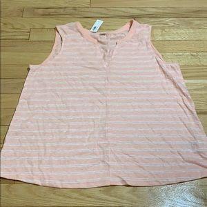 NWT Old Navy peach white stripe sleeveless shirt